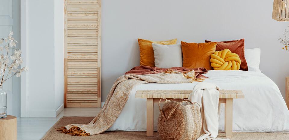 Orange, brown, white themed bedroom