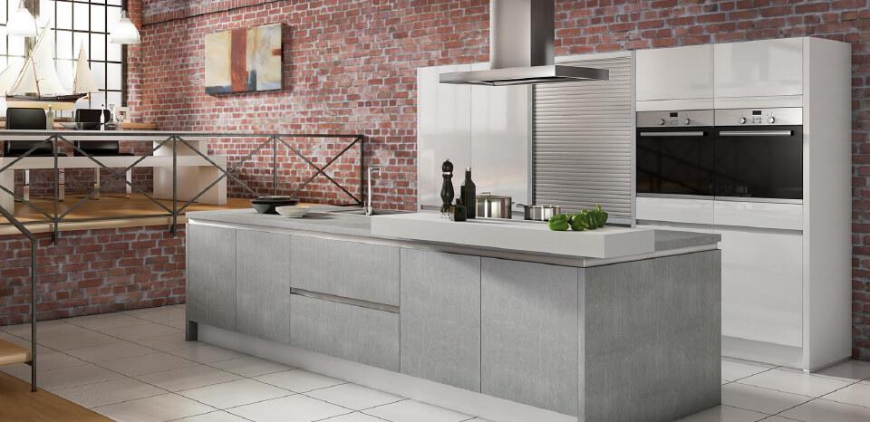 Brick interior designed kitchen