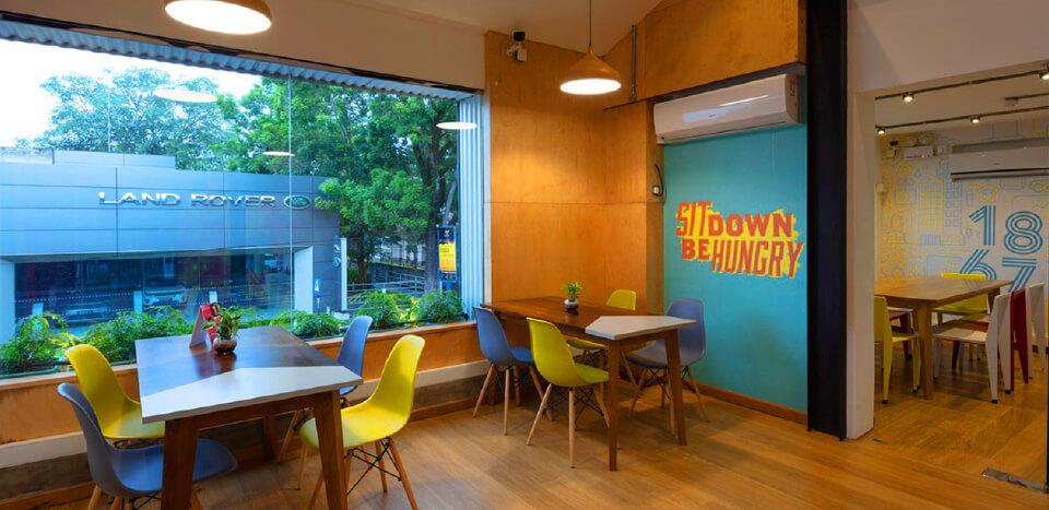 Colourful public area dining room