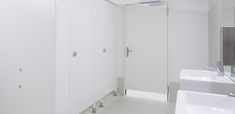 White coloured Toilet partitions