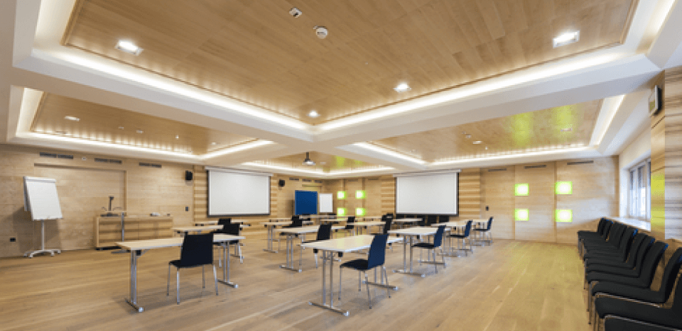 Lecture room with a wooden interior