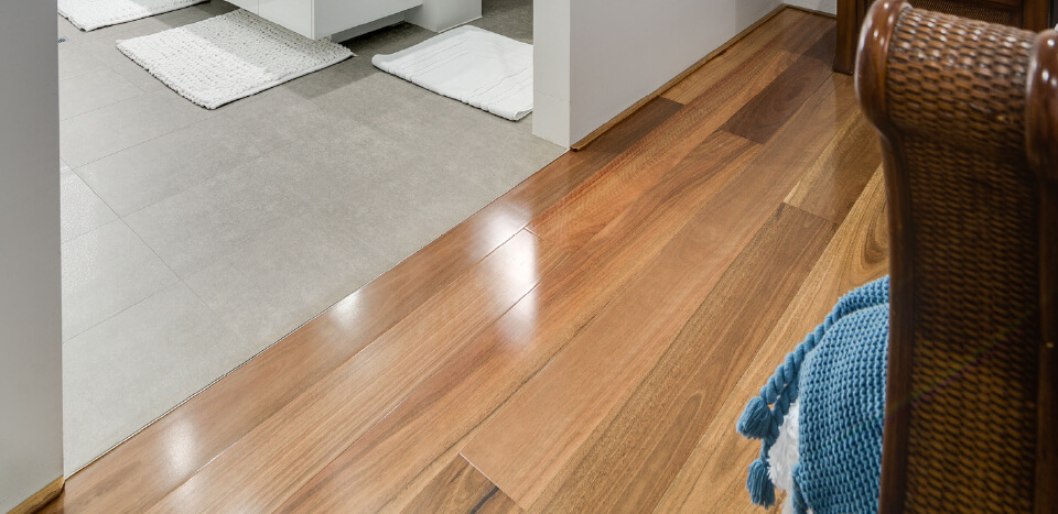 Wooden flooring and tile flooring