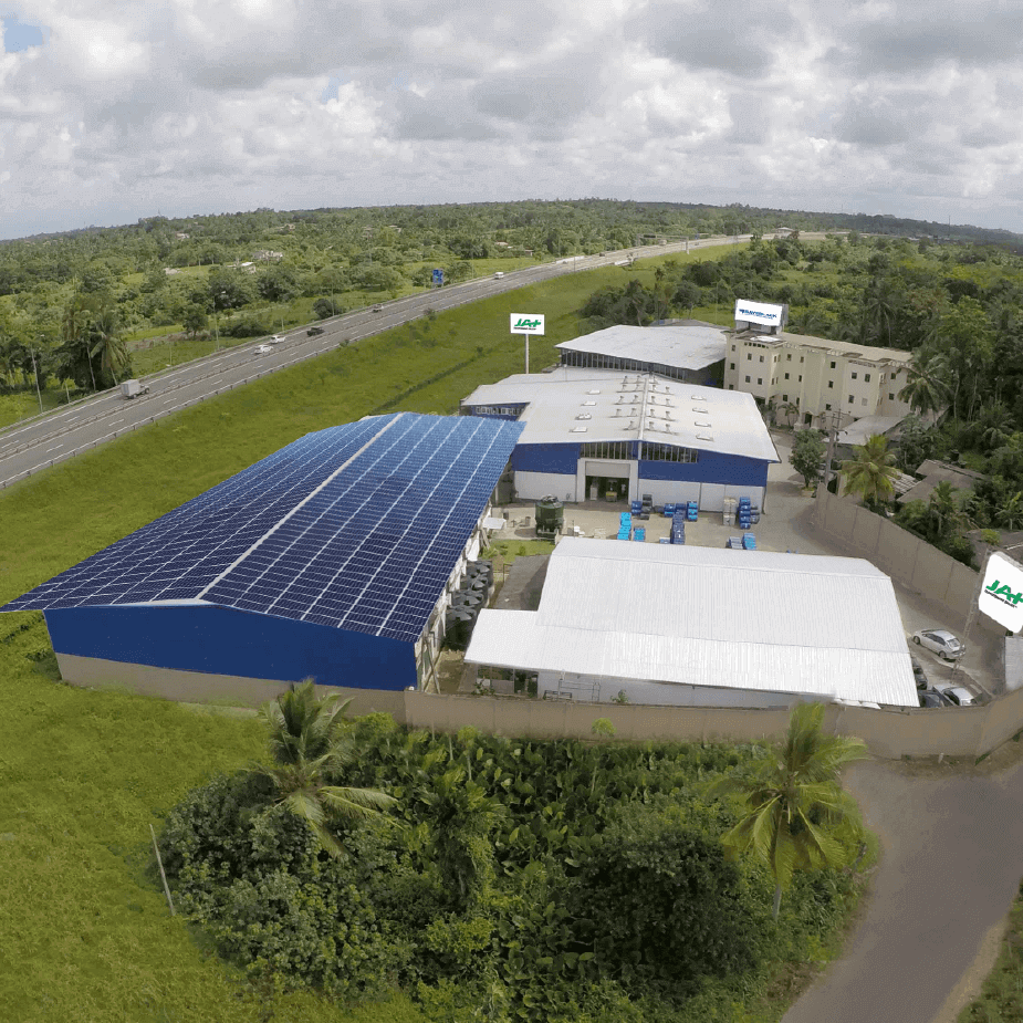 Aerial photograph of the exterior view of JAT Holdings manufacturing complex