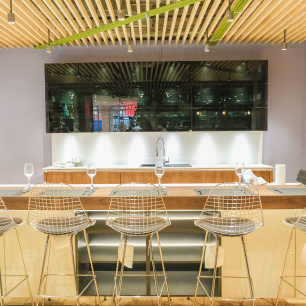Wooden interior design with metal chairs