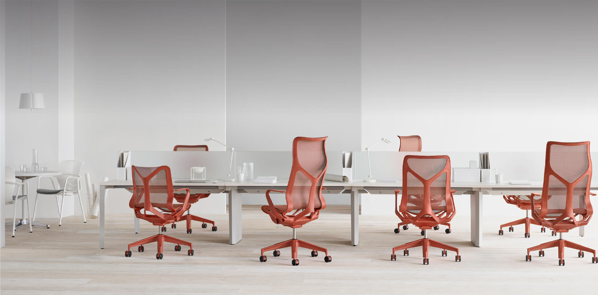 Modern meeting room with red chairs