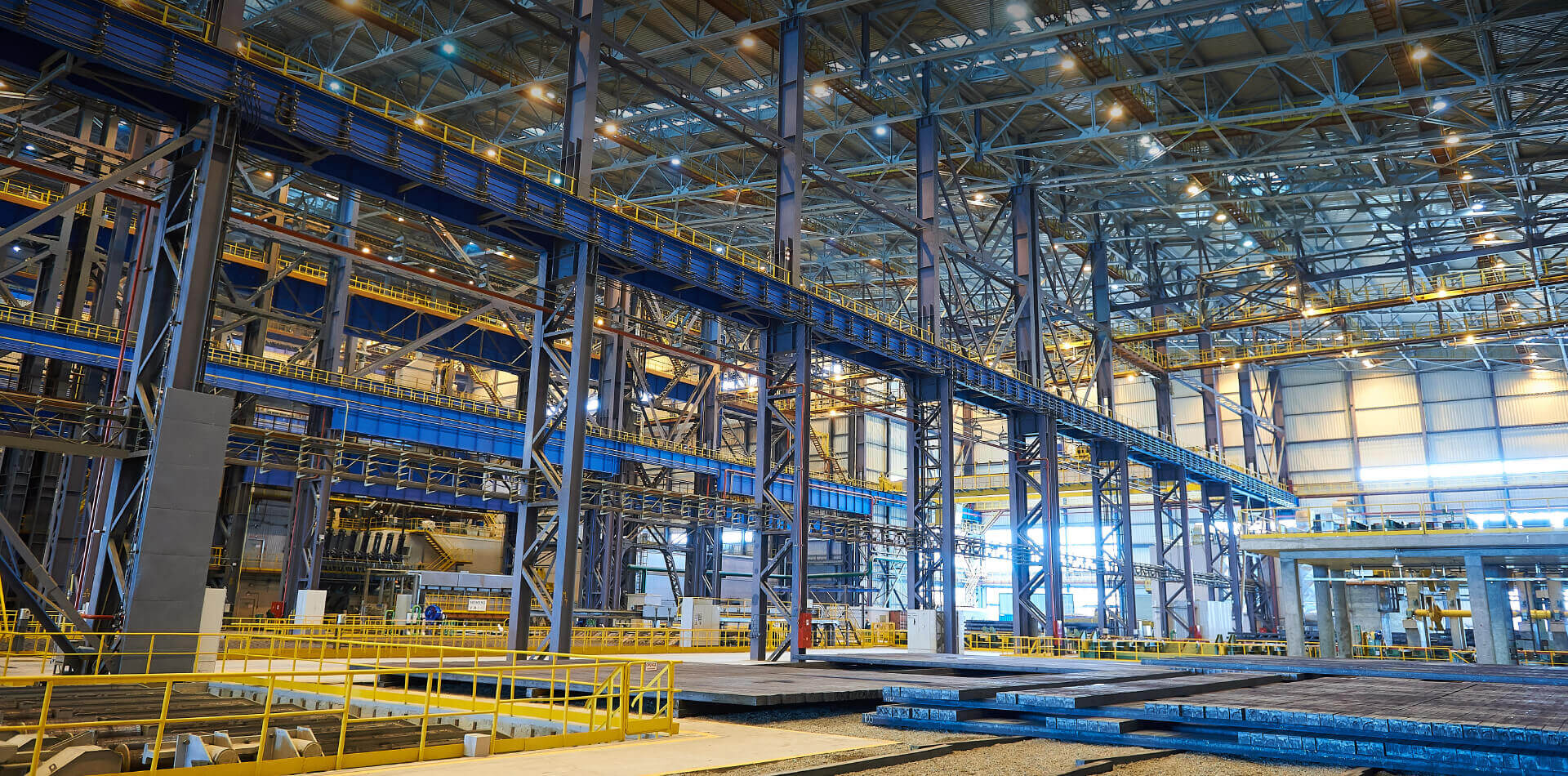 Interior view of a big industrial building