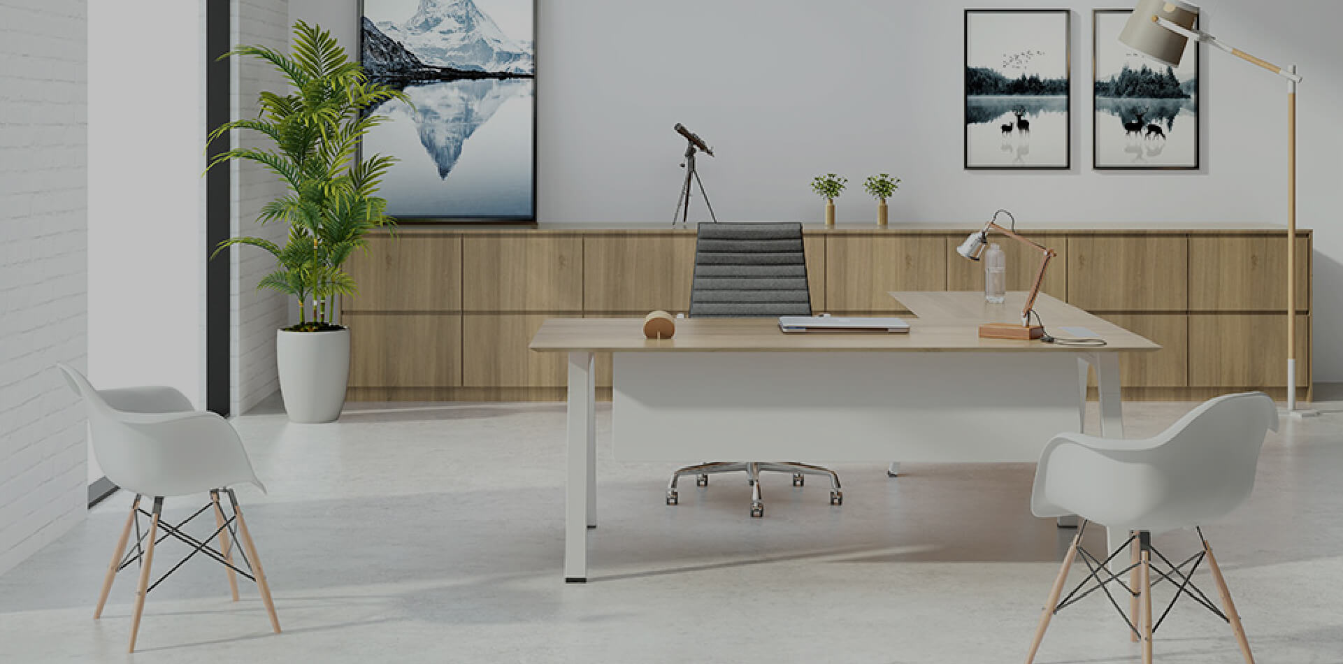 White office room with images hung on the wall