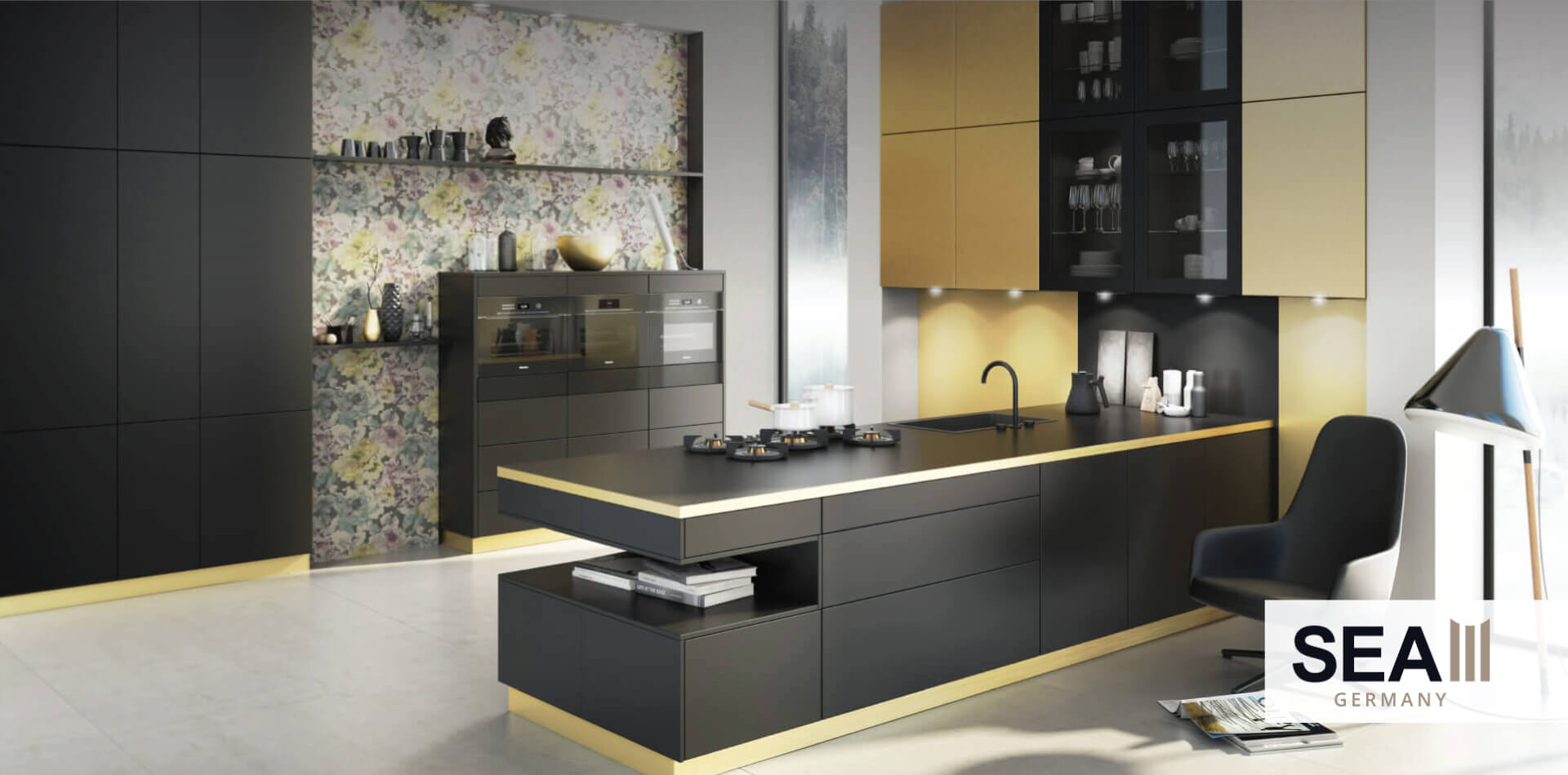 Black and gold themed kitchen design