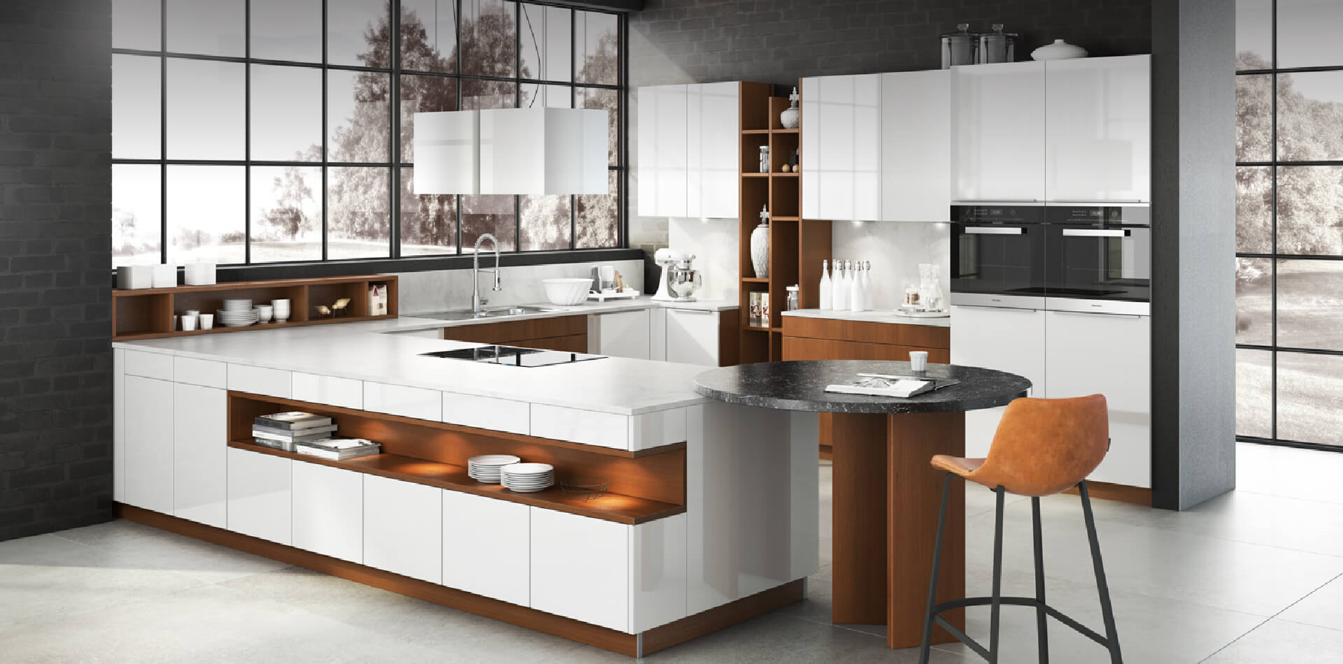 White and brown kitchen interior in a winter area