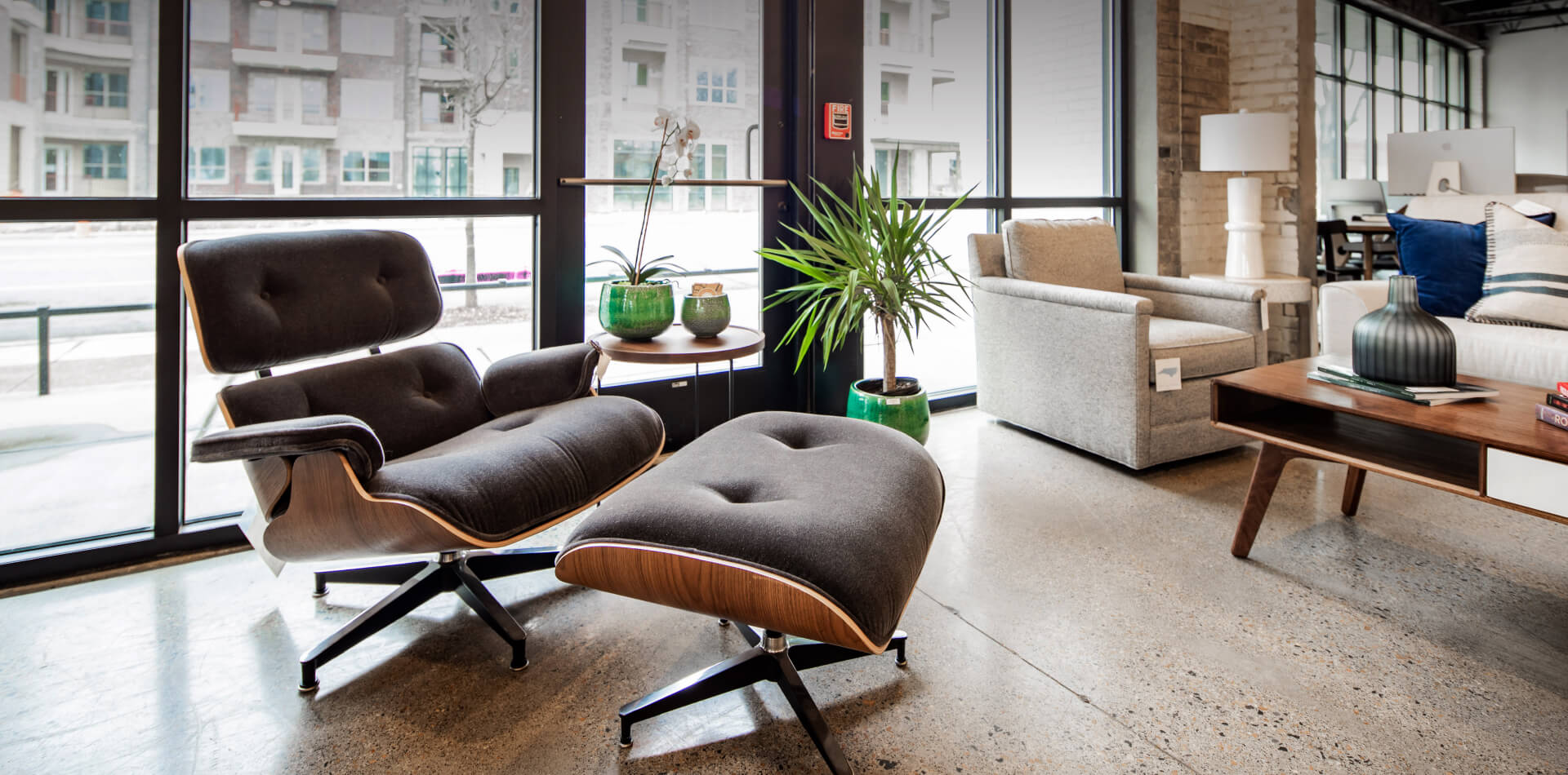 A lounge chair and ottoman