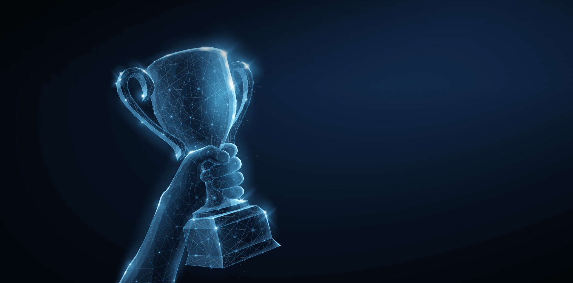 Raising the trophy award