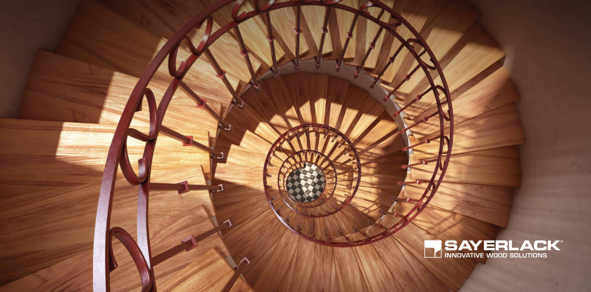 Wooden spiral staircase view