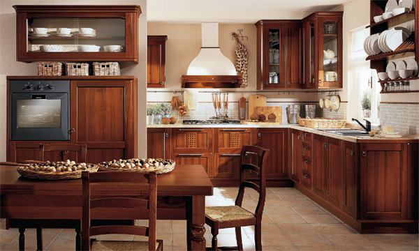 Traditional classic wooden kitchen interior
