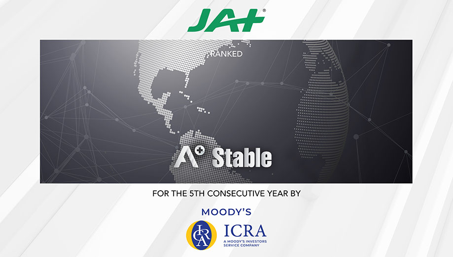 "ICRA Limited reaffirms JAT Holdings as an ""A+ Stable"" company for the fifth consecutive year"