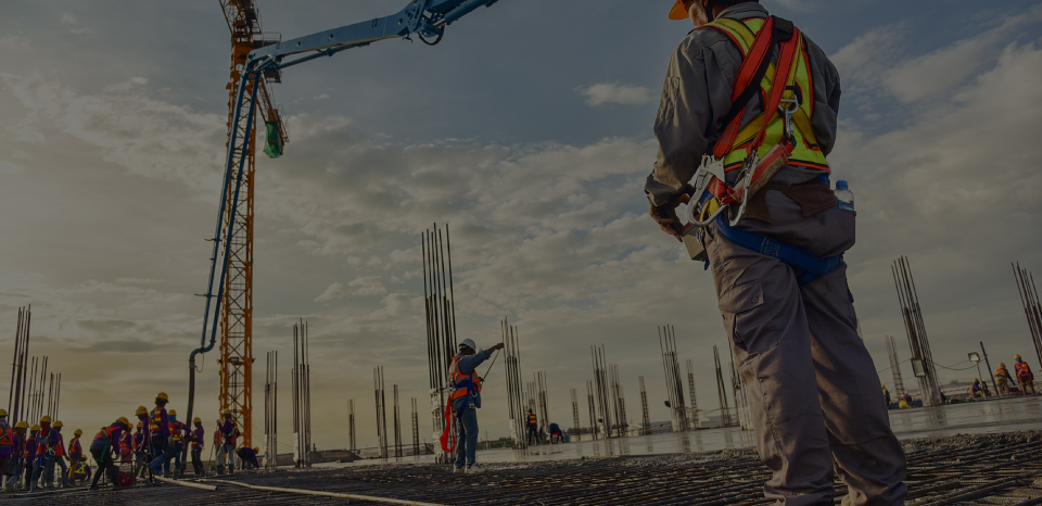 Construction site with construction workers