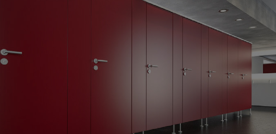 Red washroom doors design
