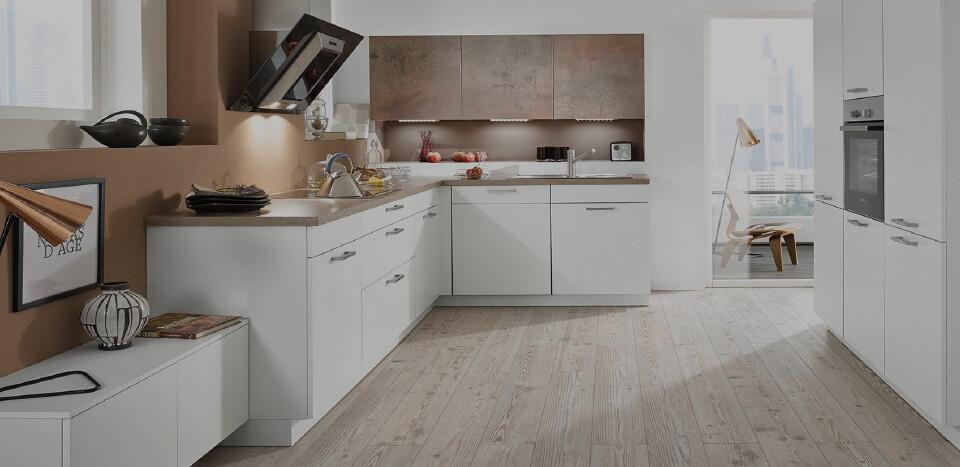 Elegant white interior kitchen with wooden flooring